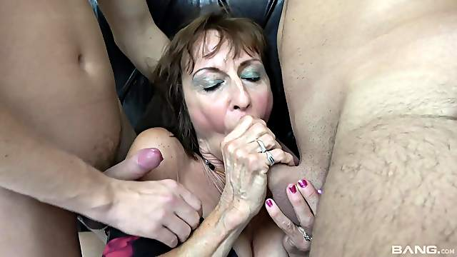 Two younger guys team up to fuck dirty mature mommy Dana. HD