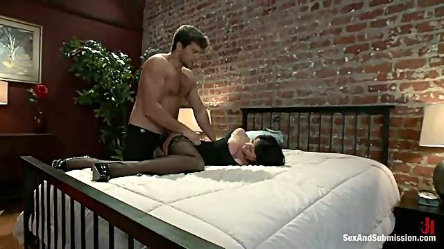 Gorgeous Eva Karera gets tied up, gagged and fucked