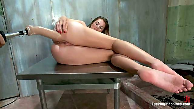 Orgasm robot tied fucked by