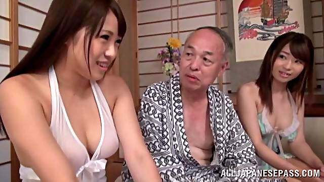 Japanese mature men enjoy feeling up fresh soft amateur skin