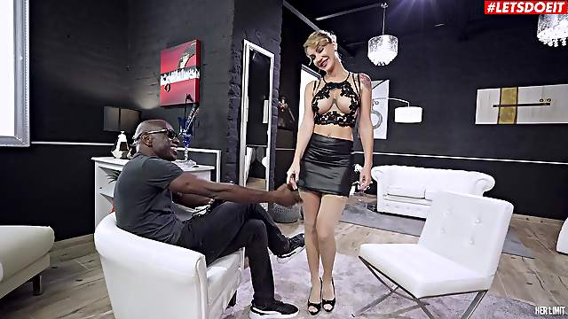 Busty blonde doll plays obedient in the face of a BBC