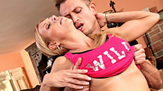 Milf blows her personal trainer