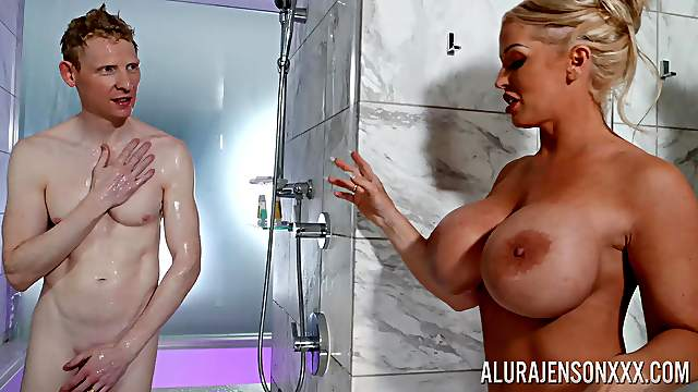 Cougar welcomes daughter's boyfriend in the shower for a bit of fun