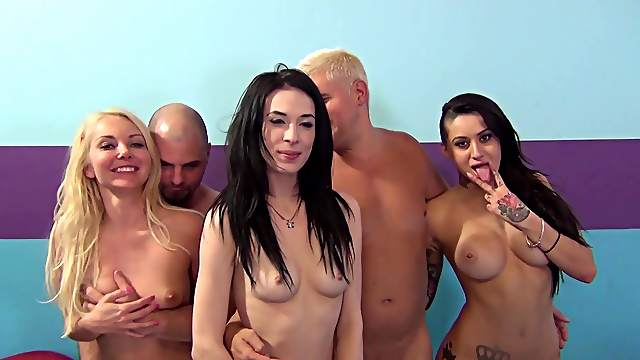 Stunning pornstars gets fucked by two guys in the bedroom