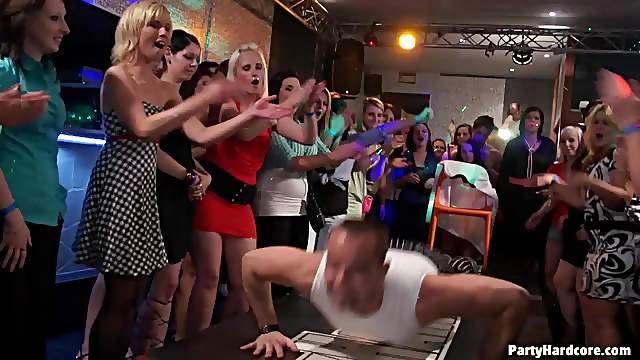 Male dancers play with hotties at party