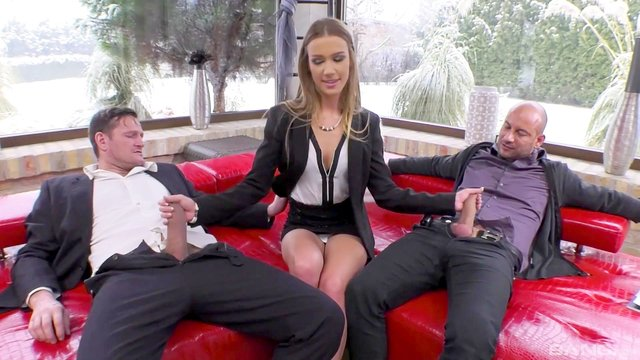 Two guys are not too much for enthusiastic Alexis Crystal
