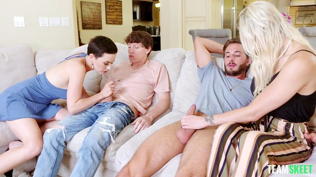 Fabulous foursome cock swapping porn for two lucky dudes
