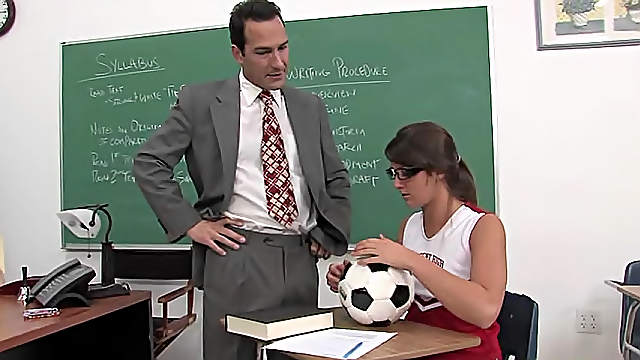 Cheerleader and teacher fuck in classroom
