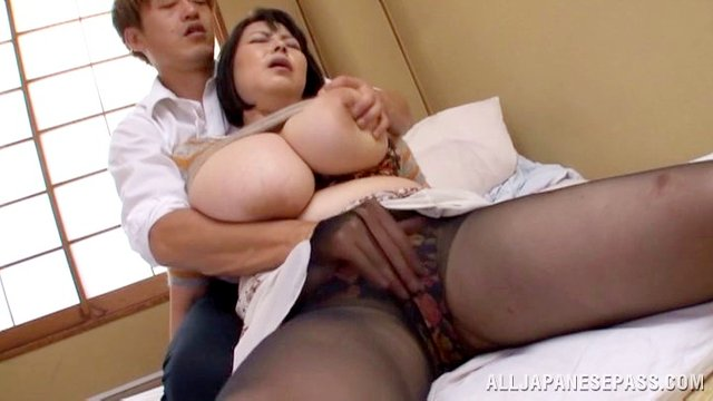 Voluptuous mature Asian pornstar gets cum on her big tits after getting fucked hardcore