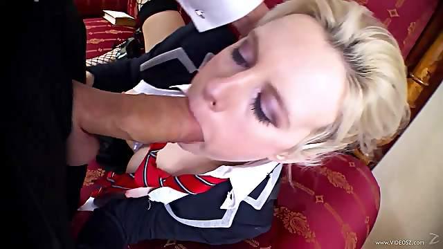 Sexy Blonde Rides A Big Cock In Her School Uniform