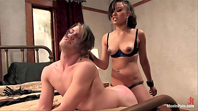 Torturing and Spanking a Guy Before Pegging His Ass