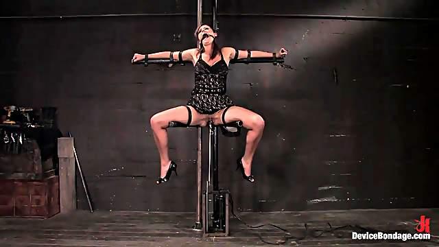 Kinky bondage with big titty whore