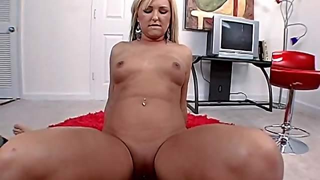 Slow POV cock riding with horny blonde slut