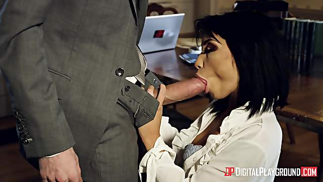 Man with big inches in his pants, insane hard sex with a business woman
