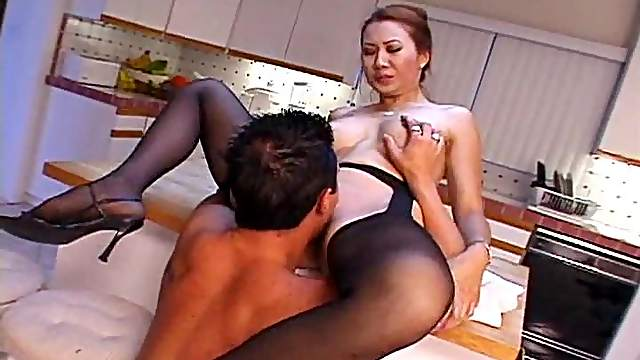He nails the hot Japanese milf in stockings