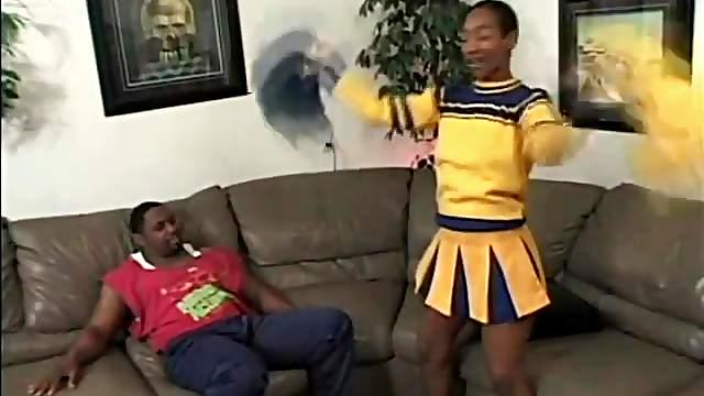 Dick sucked by a cute black cheerleader