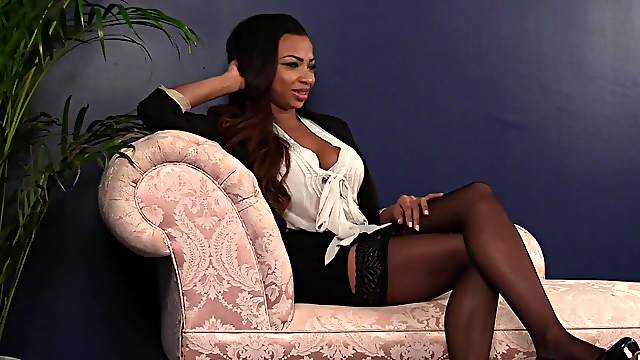 White guy jerks off for alluring ebony babe Ruby Summers