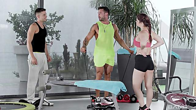 Lucia Love's luckiest day involved two studs sharing her at the gym