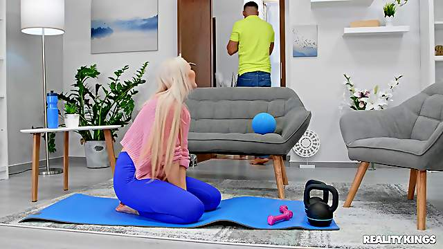 Big inches for this sporty blonde when her hubby is not home