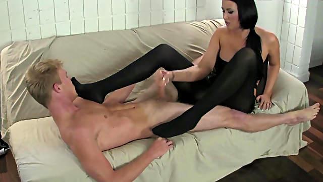 Sexy beauty enjoys foot fetish