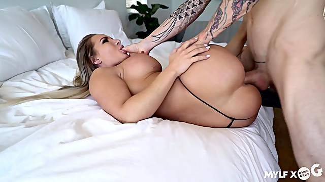 Cali Carter wears a micro thong during a hardcore hookup