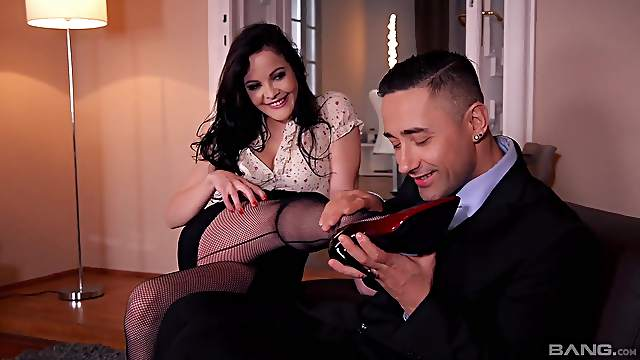 Dolly Diore rubs cock with her feet during adult relations