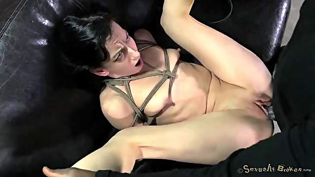 BBC fucks a cute girl in rope bondage