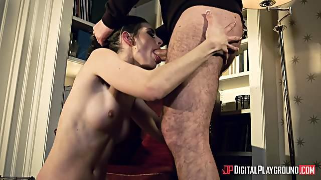 Gagging slut sure wants some cum in her ass